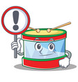 with sign toy drum character cartoon vector image vector image