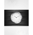Silver wall clock on black stripes vector image