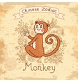 Vintage card with Chinese zodiac - Monkey vector image