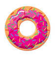donut with pink frosting and sprinkles - vector image