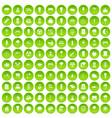 100 street lighting icons set green circle vector image vector image