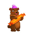 bear cartoon animal in hat with candy or present vector image vector image