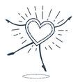 black concept of dancing heart vector image vector image