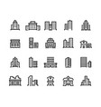 building line icons business center with offices vector image vector image