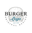 burger logo original design retro emblem for vector image vector image