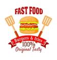 Burger shop or fast food cafe retro badge design vector image