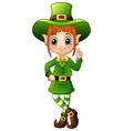 cartoon girl leprechaun peace hand gesture vector image vector image