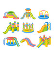 colorful inflatable slides concept flat vector image vector image