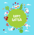 cute easter world card with rabbits vector image