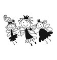 cute little fairies sketch for your design vector image vector image
