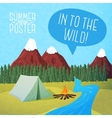 Cute summer poster - camping landscape with tent vector image vector image