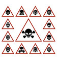 danger icons with skulls in triangles vector image vector image