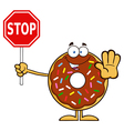 Donut Cartoon Holding a Stop Sign vector image vector image