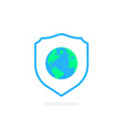 earth in shield like global security icon vector image