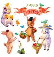 Easter watercolor collection with lamb rabbit vector image vector image