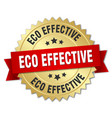 eco effective 3d gold badge with red ribbon vector image vector image