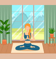 girl sitting crossed legs in room practicing yoga vector image