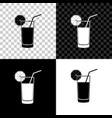 glass juice icon isolated on black white and vector image