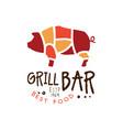 grill bar best food estd 1969 logo template hand vector image