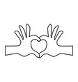 hands heart shape vector image
