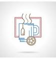 Hot tea mug thin color line icon vector image vector image