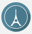 icon eiffel tower on white circle with a long vector image