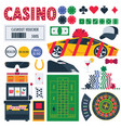 isolated on white casino equipment as gambling vector image vector image