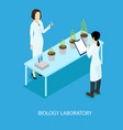 isometric biological scientific experiment concept vector image vector image