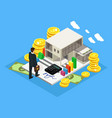 isometric finance and investment concept vector image vector image