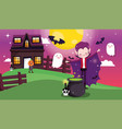 kids costume trick or treat happy halloween vector image