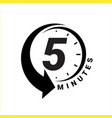 minute timer icons sign for five minutes vector image