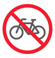 no bicycle glyph icon prohibition and forbidden vector image vector image