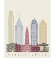 Philadelphia skyline poster vector image vector image