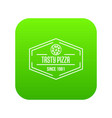 pizza tasty icon green vector image