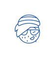 rasta emoji line icon concept rasta emoji flat vector image vector image