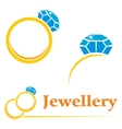 Rings with diamond vector image vector image