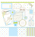 Scrapbook elements for baby boy vector image vector image