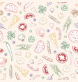 seamless pattern with delicious pizza toppings or vector image vector image