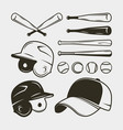 set baseball equipment and gear bat helmet vector image