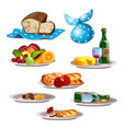 set food and leftovers isolated on white vector image vector image