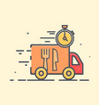 shipping delivery truck goes very fast with clock vector image