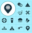 tourism icons set with jellyfish lifebuoy vector image