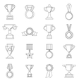 Trophy icons set outline style vector image vector image