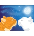 Two beloved cats on the night sky background vector image vector image