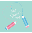 Two pencils drawing dash heart Happy Valentines vector image vector image