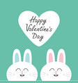 Two white bunny rabbit head couple set cute