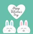 two white bunny rabbit head couple set cute vector image vector image