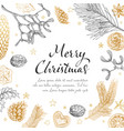 vintage handdrawn christmas card vector image vector image