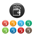 wallet icons set color vector image vector image