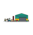 warehouse with roller doors forklift and loader vector image vector image